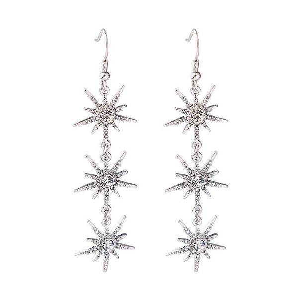 Last True Angel Triple Star Drop Earrings