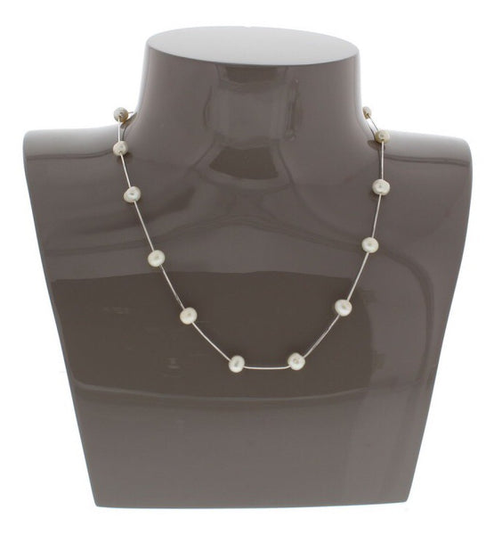 Nour London 925 Silver Pearl Station Necklace
