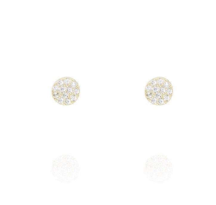 Penny Levi Small Gold Pave Disc Studs