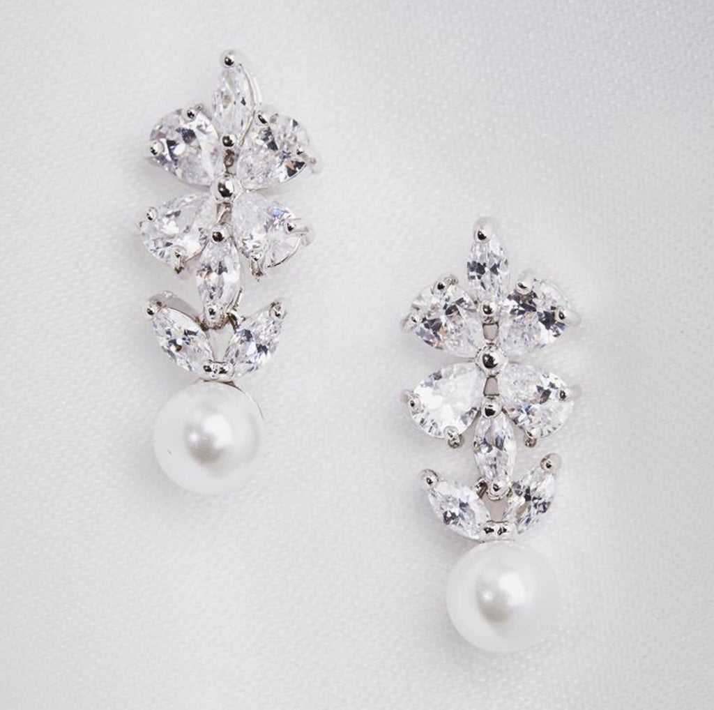 Lovett & Co Crystal Clover and Pearl Mini Drop Earrings