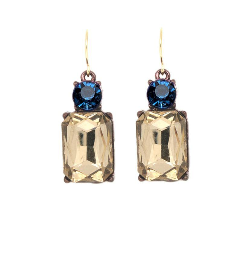 Last True Angel Smoky Gold and Blue Earrings