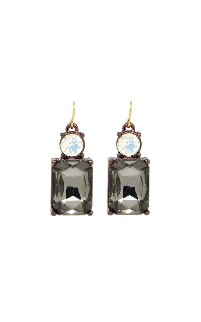 Last true Angel Slate Grey and White Gem Earrings