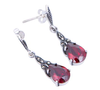 London Vintage Garnet Crystal Marcasite Drop Earrings