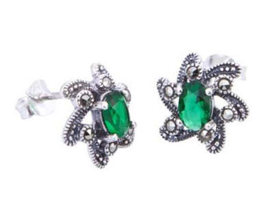 London Vintage Emerald Flower Marcasite Stud Earrings