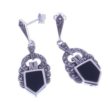 London Vintage Onyx Marcasite Drop Earrings