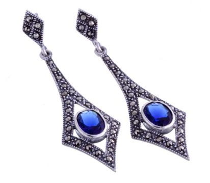 London Vintage Marcasite and Sapphire Diamond Drop Earrings