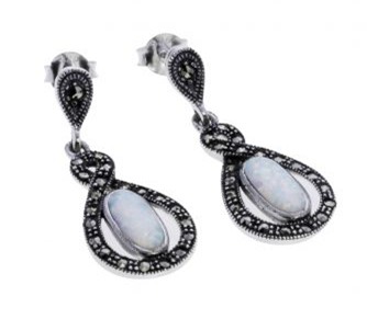 London Vintage Opal and Marcasite Drop Earrings
