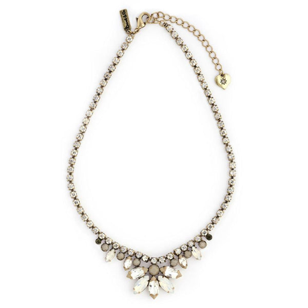 Lovett & Co 1950s Diamante White Opal Necklace - Jewella accessories - 1