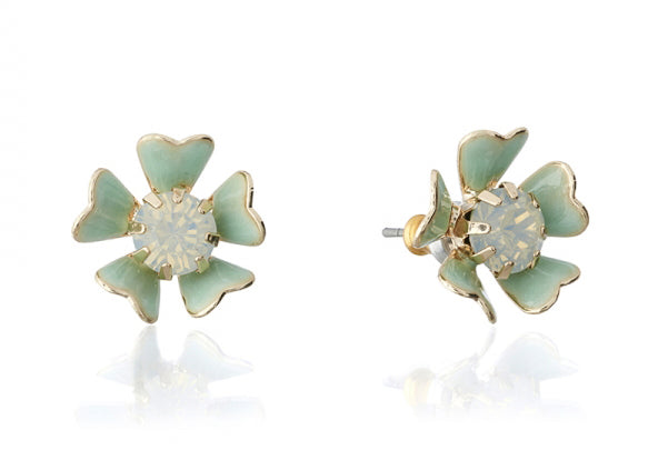 Lovett & Co Pearlised Petal Flower Stud Earrings in Mint