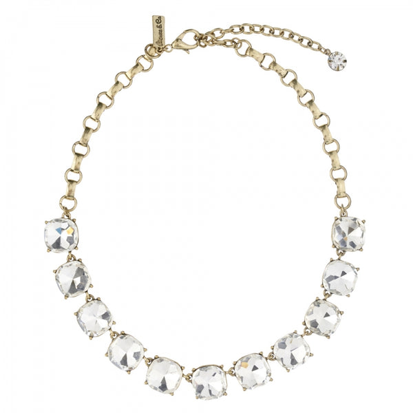 Lovett & Co Vintage Inspired Cushion Cut Crystal Necklace