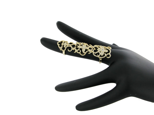 Nour London Gold Intricate Long Ring