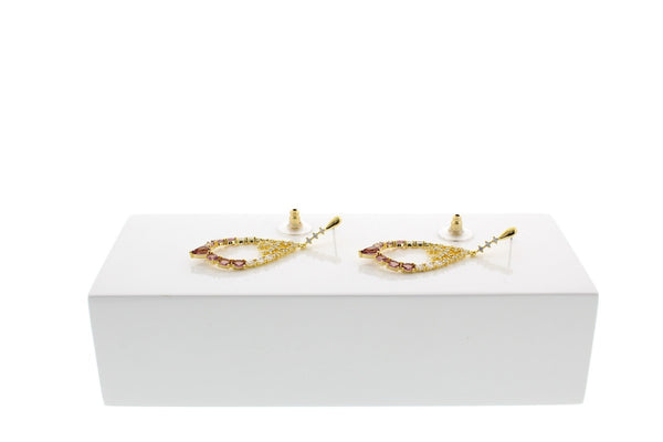 Nour London Crystal Pink Statement Earrings