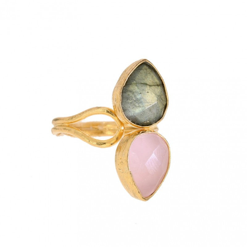 Ottoman Hands Miniature Labradorite and Rose Quartz Ring