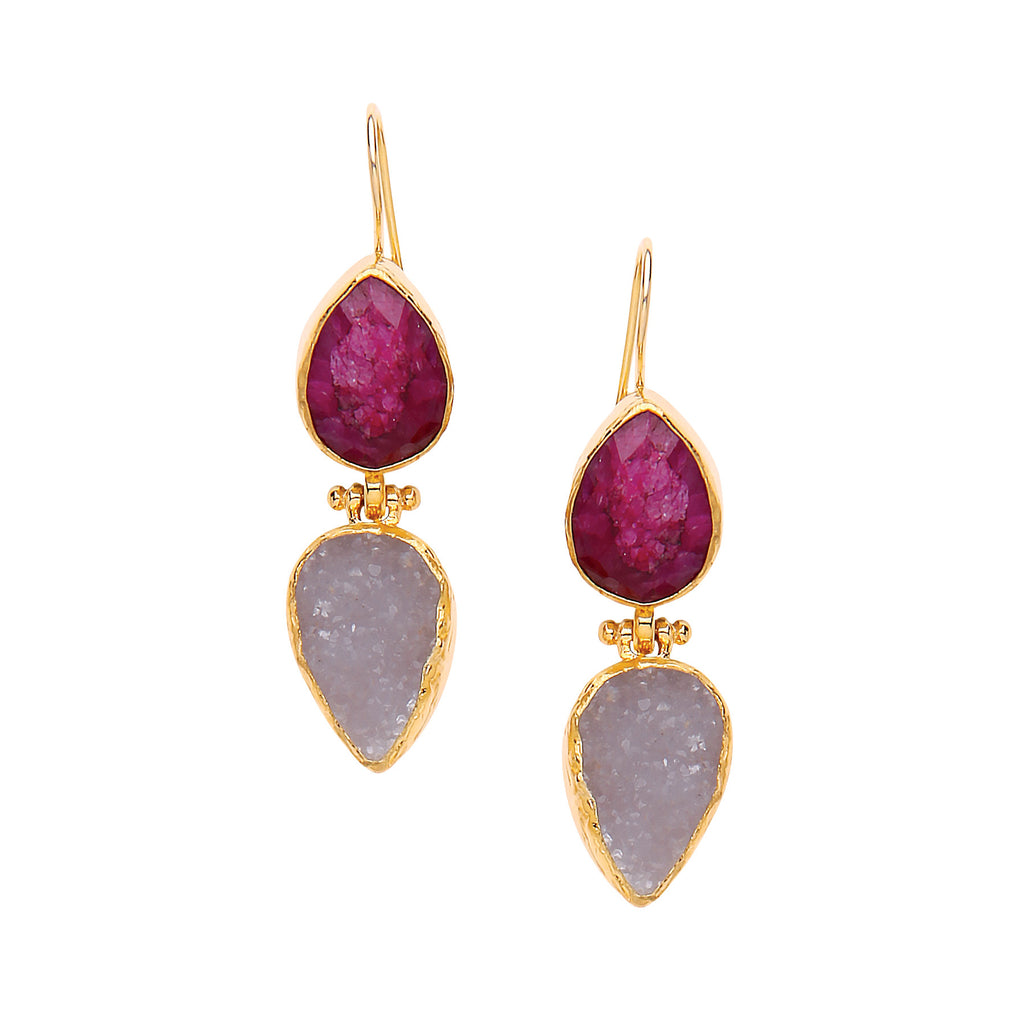 Ottoman Hands Two Stone Earrings in Ruby & Rough Chalcedony - Jewella accessories