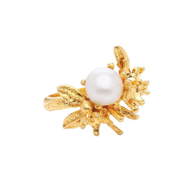 Ottoman Hands Pearl and Flower Adjustable Ring - Jewella accessories - 1