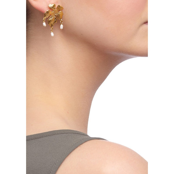 Ottoman Hands Pearl Bead Leaf Earrings - Jewella accessories - 2