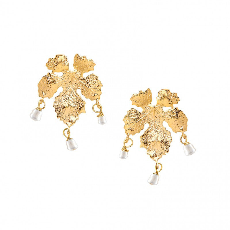 Ottoman Hands Pearl Bead Leaf Earrings - Jewella accessories - 1