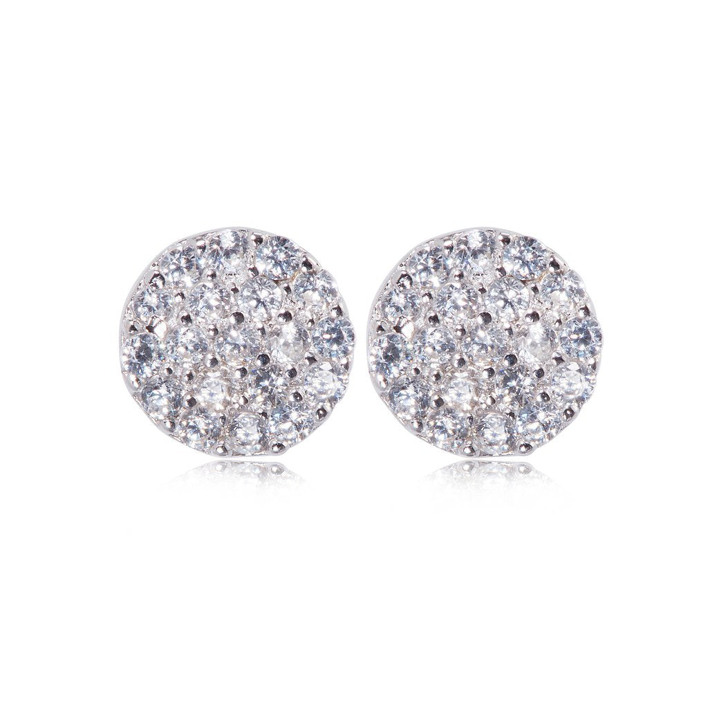 Penny Levi Round CZ Earrings Silver