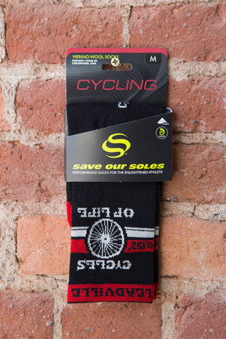 "Cycles of Life Cycling Socks Black/Red 5"" cuff"