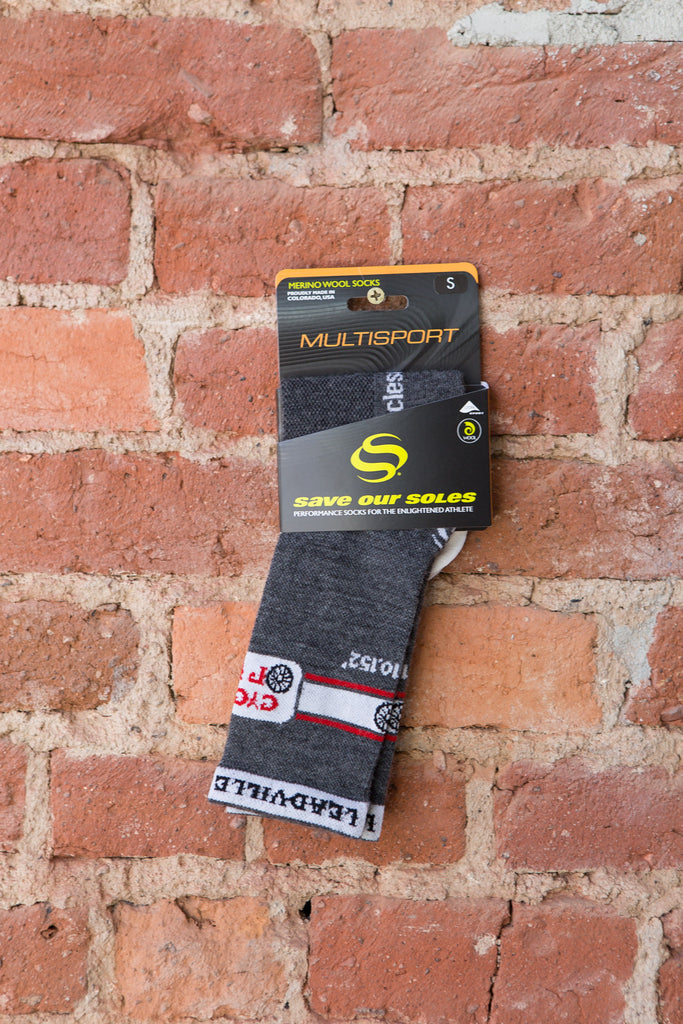 "Cycles of Life Cycling Socks Grey/White 5"" cuff"