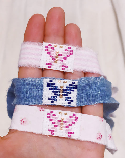 Beaded Bracelet With Fabric