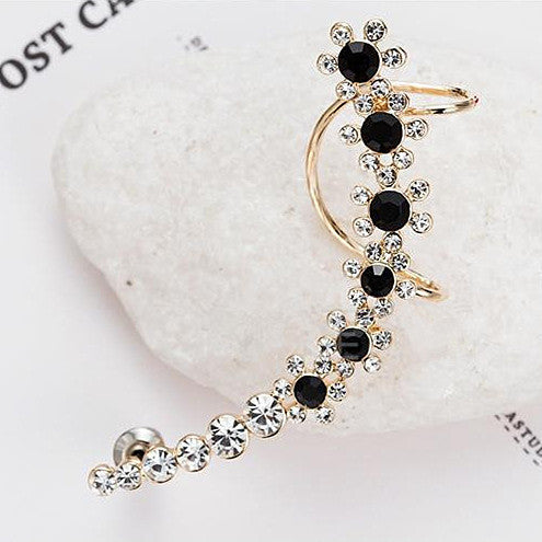 Hot New Fashion Rhinestone Gold Clip Earrngs For Women Snow Shiny Crystal Earring