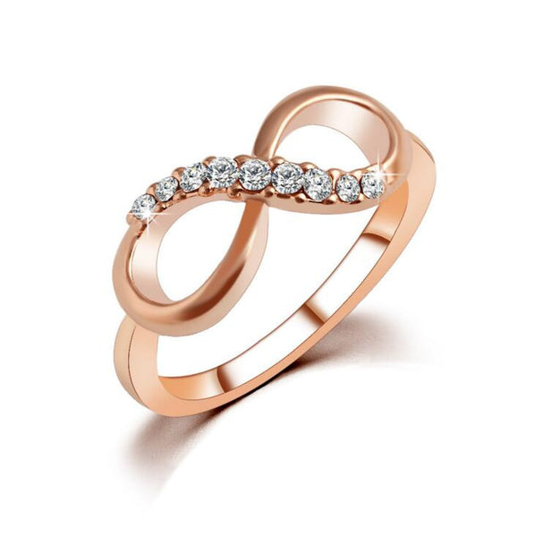 New Top Quality Fashion Rose Gold Plated Zircon Crystal Infinity Rings For Women