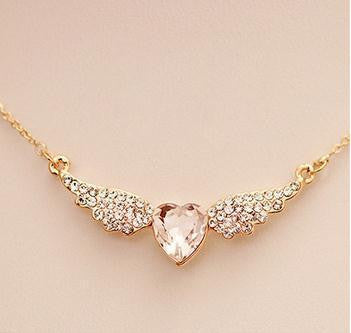 Angel Wings Gold Plated Pendants Love Heart Shape Necklaces