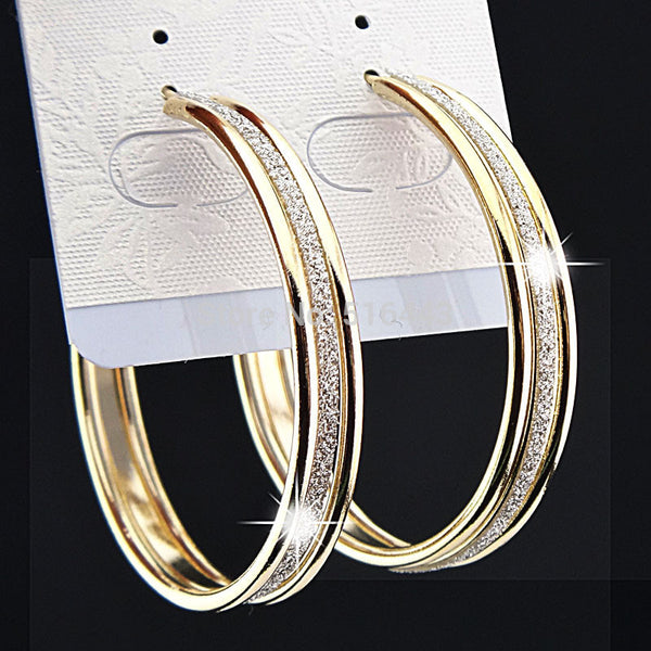 Charms Fashion Hot Sale Elegant Gold Frosted Big Hoop Earrings for Womens