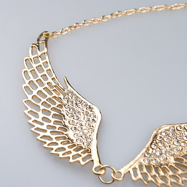 Fashion Jewelry 18K Gold Plated Women Angel Wings Necklace