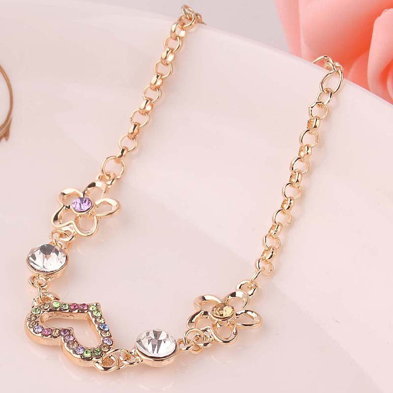 New Fashion Hot Selling Flower Colorful 14K Gold Plated Chain Bracelets&Anklets For Women