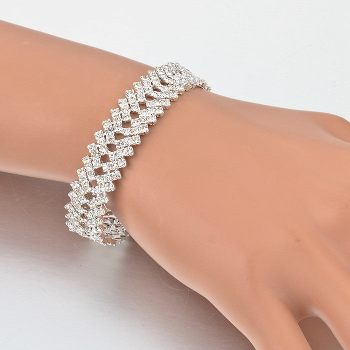 Luxury Crystal Bracelets For Women Silver Bracelets &  Fashion Bridal Jewelry