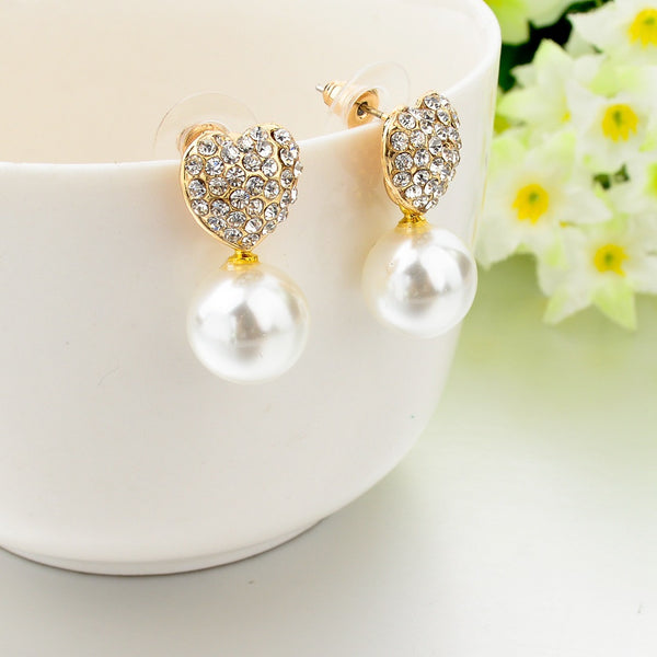 Heart Shaped Crystal Pearl Stud Earrings For Women New Brand Jewelry Ball Earring