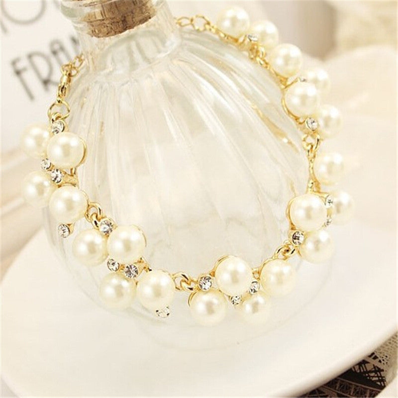 Hot Brand Design Luxurious Charm Crystal Cubic Zircon Simulated Diamond Pearl Beads Bracelet For Women