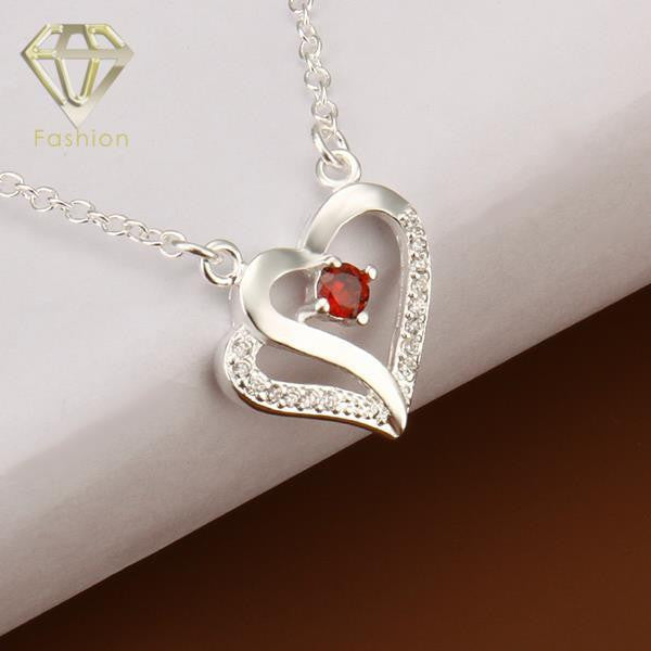 New Fashion Design Hollow Soulmate Heart Shaped Inlaid Cubic Zirconia Red Crystal Pendant Silver Plated Chain Necklace Jewelry for Women