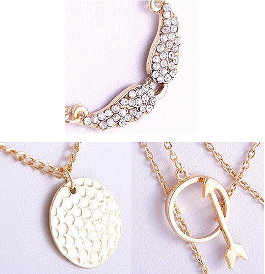 New Design Multiwall Punk Golden Rhinestone  Angel Wings Arrows Disc Circular Collares Pendant Necklace