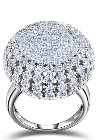 Charming Platinum Plated 218 Pieces 2mm Zircon Full Paved Round Shaped Vintage Ring
