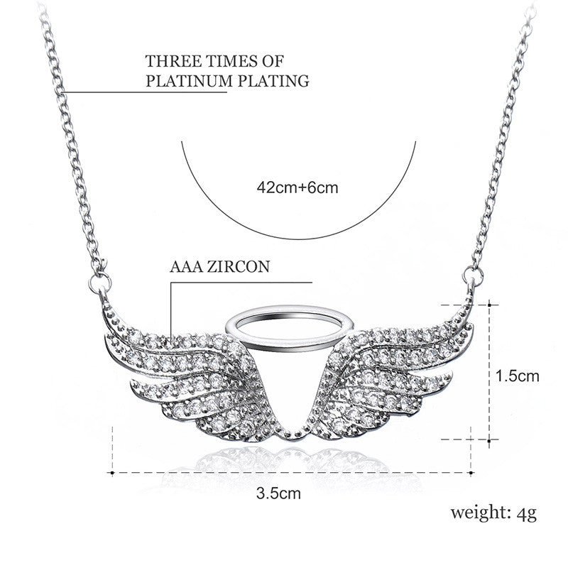 Crystal Rhinestone Zircon Stone Angel Wing Pendant Necklace Platinum Jewelry