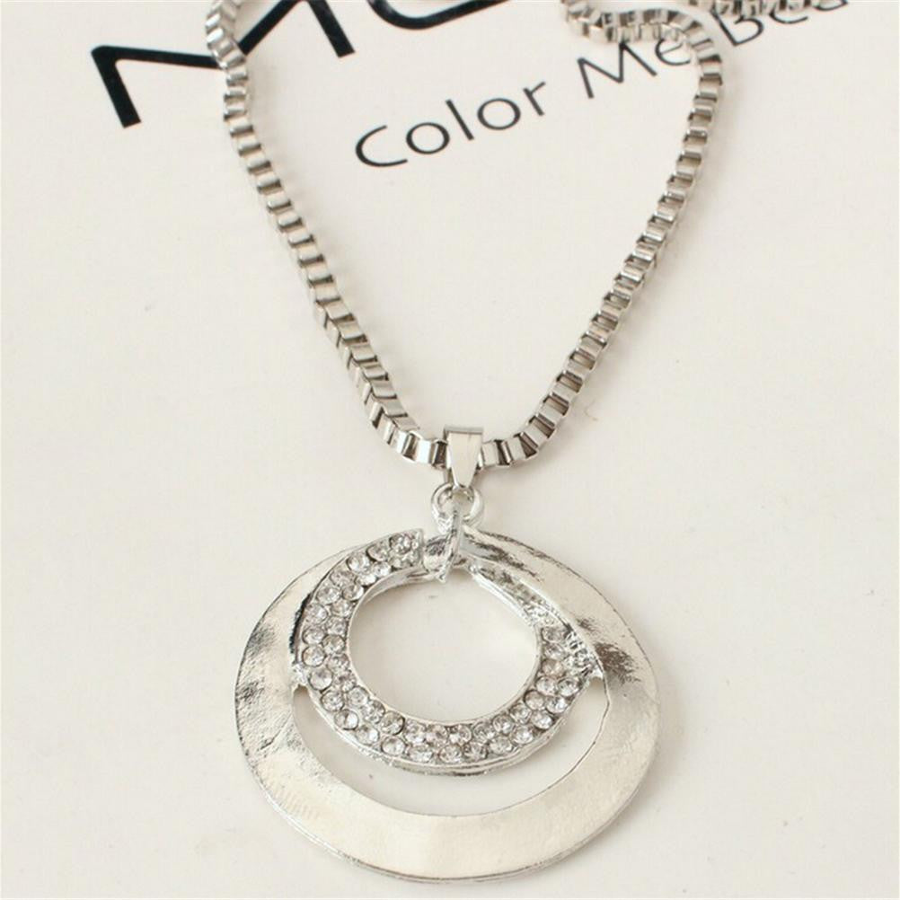 Beautiful Long Chain Necklaces Fashion Crystal Rhinestone Silver Plated Double Circle Pendant for Women