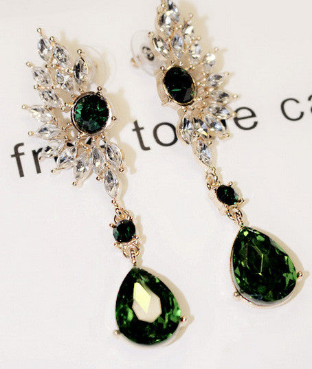 Emerald Crystal Gold Filled Green/Red Dangles Rhinestone Sapphire CZ Stone Earing