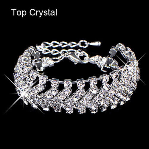 Brand-New Design Hot Selling Charming Crystal Jewelry Shiny Rhinestone Wide Bracelet for Women