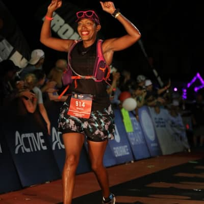 happy customer finishing an ironman in a blyss skirt
