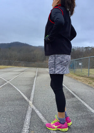 in stride skirted capri on jogger at the track