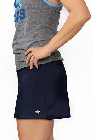 side view of navy running skirt