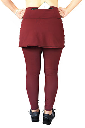 back view of skirted tight in merlot