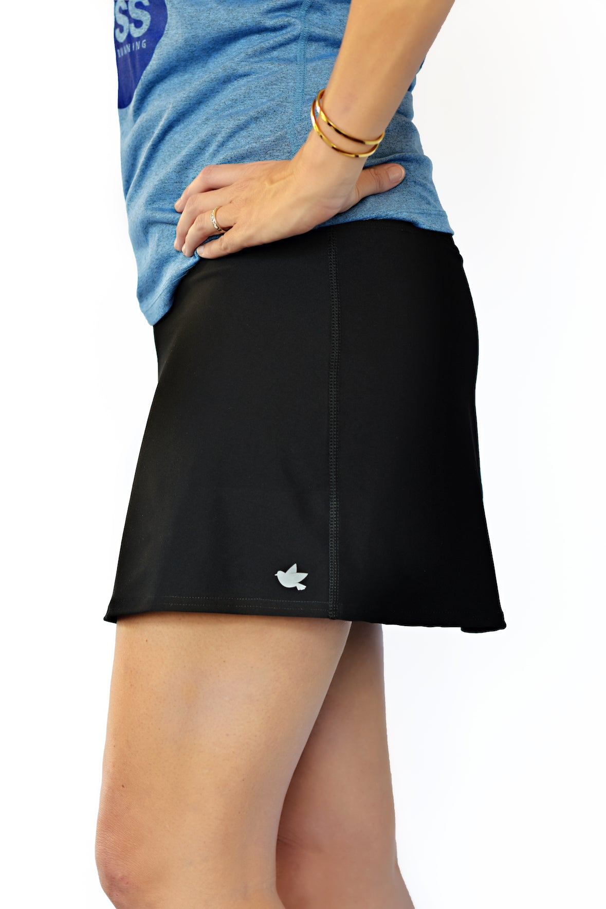 cool running skirt black front view