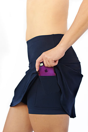 side phone pocket on navy running skirt
