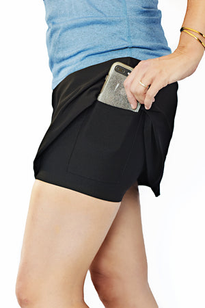 black cool running skirt with side phone pocket