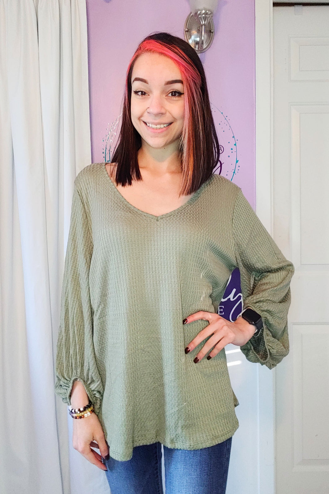 Olive Waffle 3/4 Sleeve Top (S-XL)