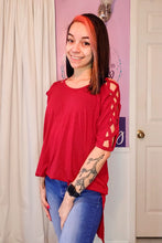 Load image into Gallery viewer, Kenna Cross Sleeve Top in Red (S-XL)